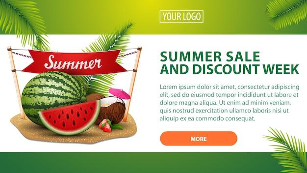 Sommerschlussverkauf und rabattwoche, horizontales rabattbanner für ihre website