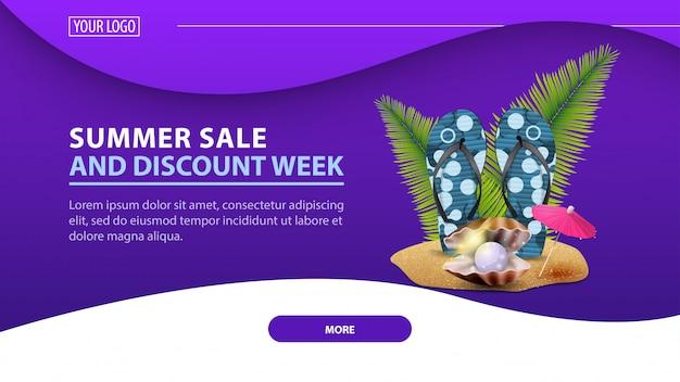 Sommerschlussverkauf und rabattwoche, modernes rabattweb-banner für die site