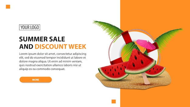 Sommerschlussverkauf und rabattwoche, weiße unbedeutende netzfahnenschablone des rabattes für ihre website