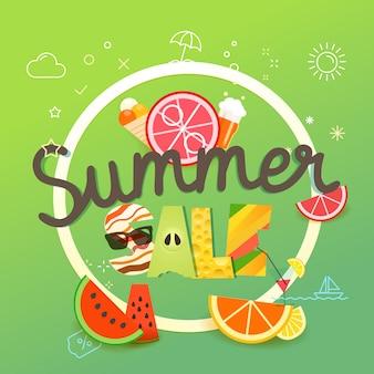 Sommerschlussverkauf vektor-illustration. saisonverkaufskonzept