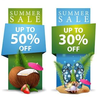 Sommerschlussverkauf, vertikale fahnenschablone mit zwei rabatten