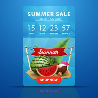 Sommerschlussverkauf, web-banner-vorlage mit countdown bis zum ende des verkaufs