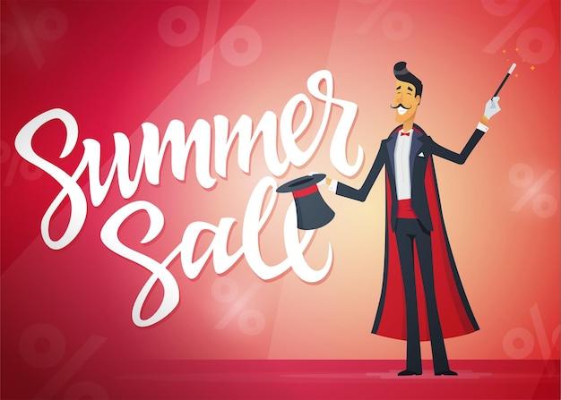 Sommerschlussverkauf - zeichentrickfilm-figurenillustration mit kalligraphietext auf rotem hintergrund. hochwertiger pinselstift-schriftzug. ein bild eines zauberers, der einen hattrick macht. rabatt, einkaufskonzept