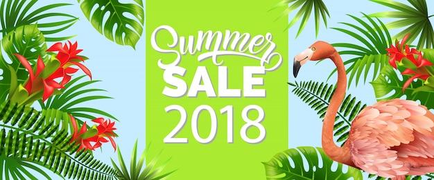 Sommerschlussverkauf, zwanzig achtzehn grüne fahne mit palmblättern, rote tropische blumen