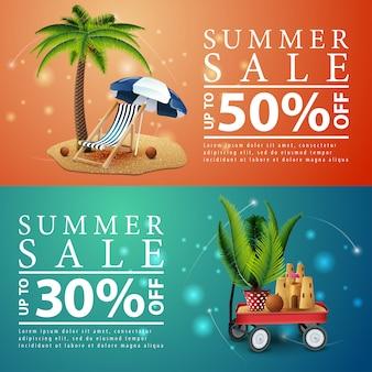 Sommerschlussverkauf, zwei rabatt-banner