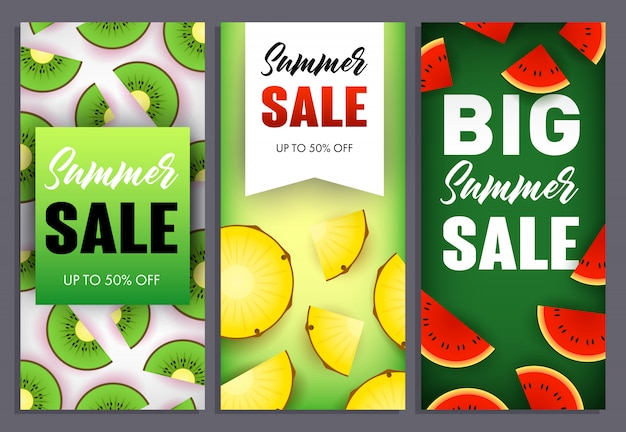 Sommerschlussverkaufbeschriftungen eingestellt, wassermelone, kiwi und ananas