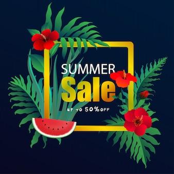 Sommerschlussverkauffahne mit tropischen blättern, exotisches tropisches blattdesign