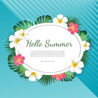 Sommerschlussverkauffahne mit tropischen palmblättern und plumeriablume