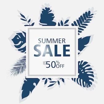 Sommerschlussverkauffahnenschablonen, quadratischer rahmen mit palmblättern, waldblätter.