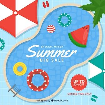 Sommerschlussverkaufhintergrund mit draufsicht des pools in der flachen art