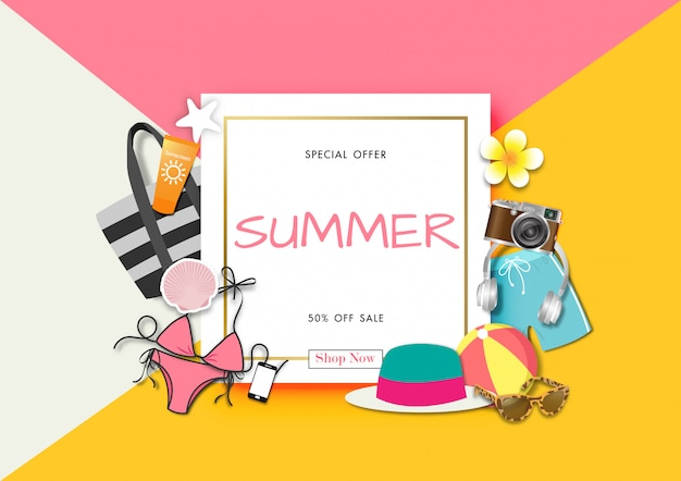 Sommerschlussverkaufhintergrund mit papierkunst des sommerzubehörs