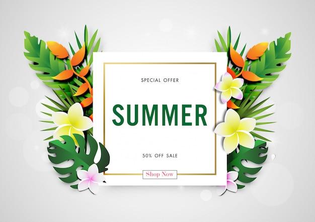 Sommerschlussverkaufhintergrund mit papierkunst des tropischen designs