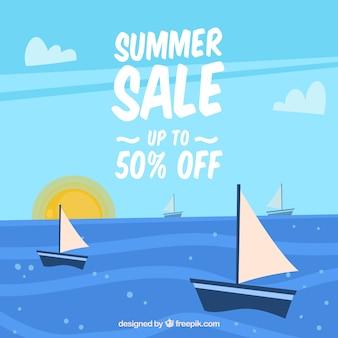 Sommerschlussverkaufhintergrund mit segelbooten in der flachen art