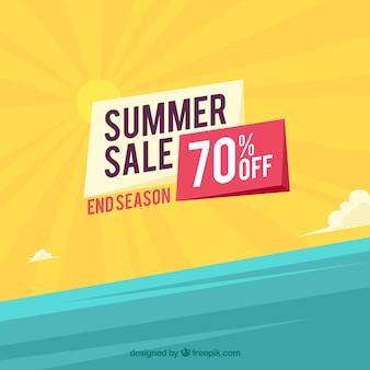 Sommerschlussverkaufhintergrund mit strandansicht