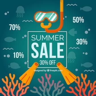 Sommerschlussverkaufhintergrund mit strandelementen
