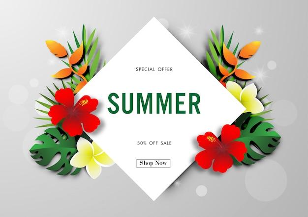 Sommerschlussverkaufhintergrund mit tropischem designvektor