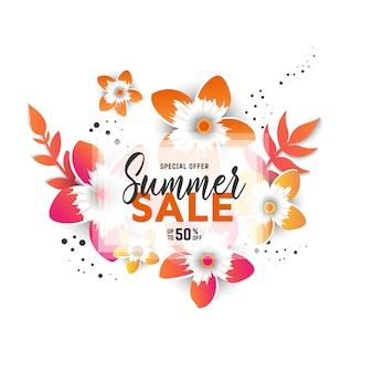 Sommerschlussverkaufhintergrundplan für fahnen mit blumen