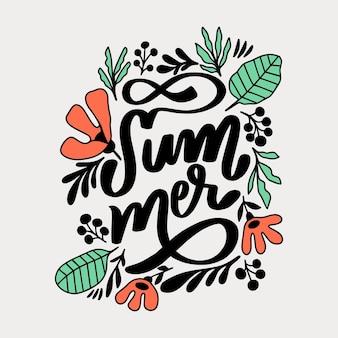 Sommerschrift mit blättern und blüten