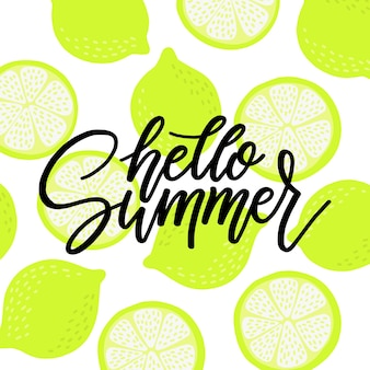 Sommerschrift mit zitrusfrüchten