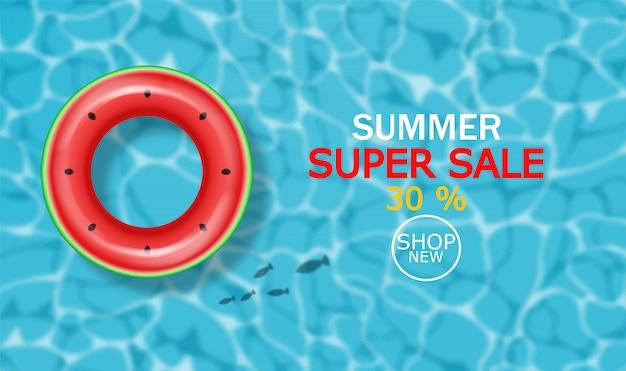 Sommerschwimmbad und rettungsring banner