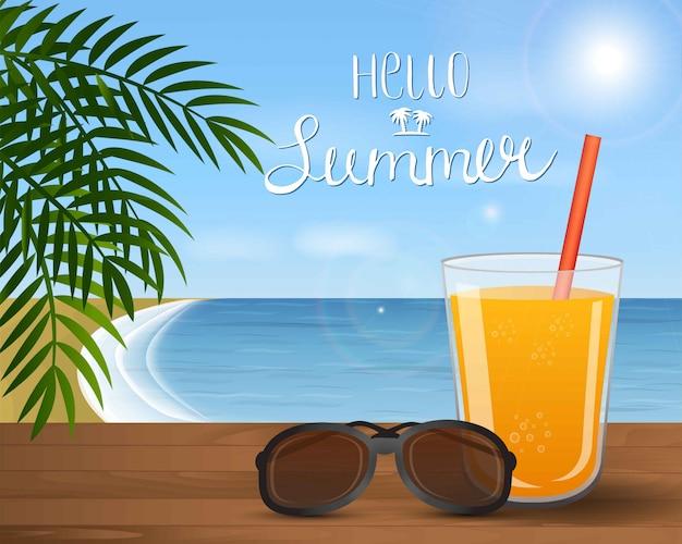 Sommerseelandschaft mit cocktail