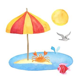 Sommerset mit sonnenschirm, insel, fisch, krabben cartoon kinderaquarellelementen für flieger