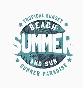Sommerslogan auf tropischem waldillustrationshintergrund