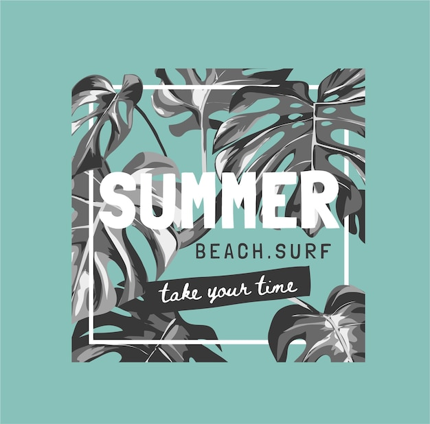 Sommerslogan mit schwarzen und weißen tropischen blättern auf grünem hintergrund für modedruck