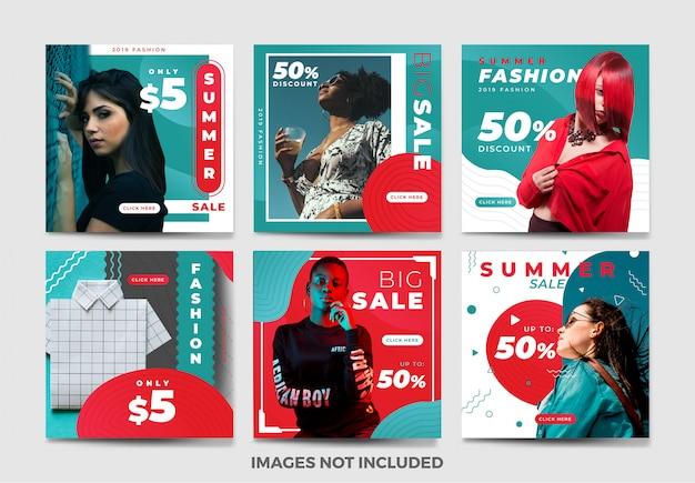 Sommersocial media-fahnen-schablonensammlung mit einzigartiger farbe