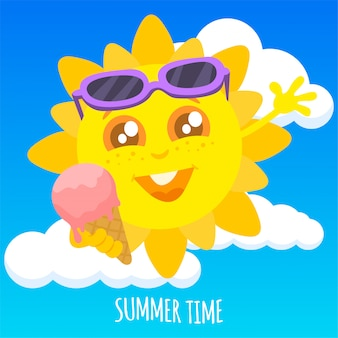 Sommersonne, die eine eiscreme hält