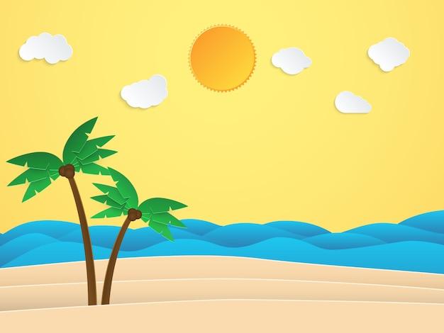 Sommersonnenscheinzeit. meer mit strand und kokosnussbaum. papierkunststil. illustration.