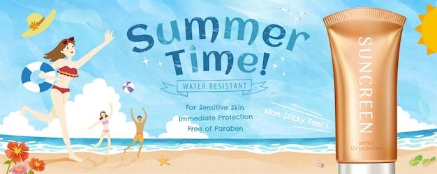 Sommersonnenschutzprodukt der illustration 3d mit reizender gekritzelartstrandszene