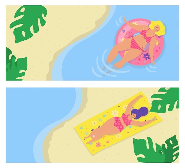 Sommerstrand für körper positive leute, junge frau mädchen urlaub set illustration. weibliche figur im badeanzug auf see. schöne ferien, person schwimmen, sonnenbaden bei spaß reisen.