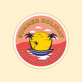 Sommerstrand logo vorlage premium vektoren