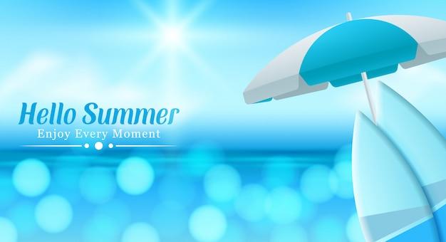 Sommerstrand mit glänzendem meerwasser.