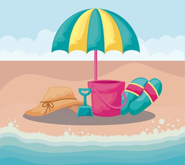 Sommerstrand mit regenschirm- und satzikonen