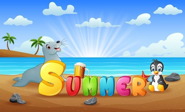 Sommerstrand mit robbe und pinguin