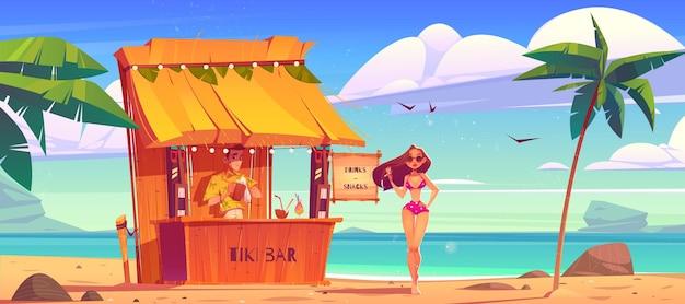 Sommerstrand mit tiki-bar und mädchen in bikini-meerlandschaft mit hölzernem café-barkeeper und schöner frau in sonnenbrillen-karikaturillustration des tropischen ozeanufers mit palmen