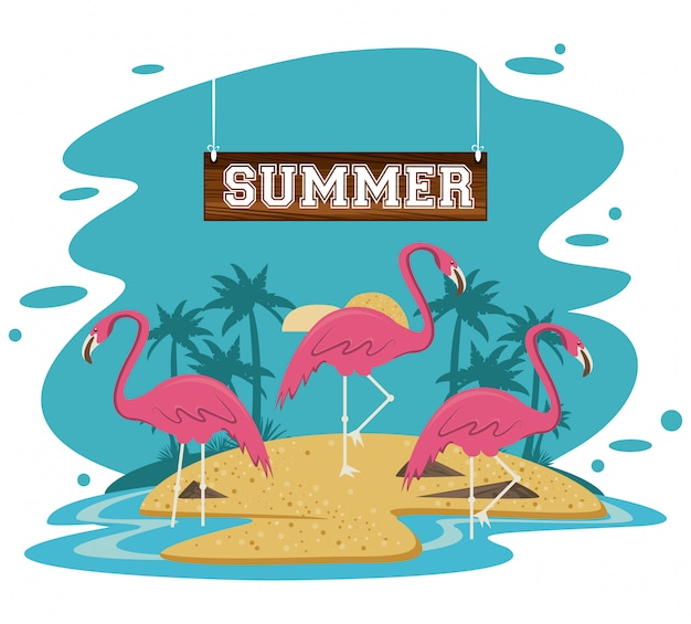 Sommerstrand und ferienillustration