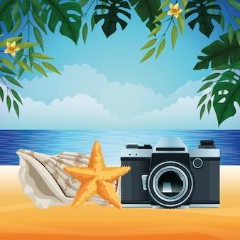 Sommerstrand und ferienkarikatur