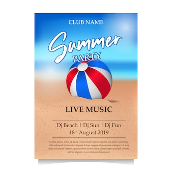 Sommerstrandfestplakat mit ball auf dem strand