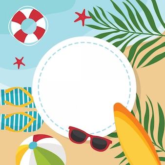 Sommerstrandillustration mit rahmen und copyspace