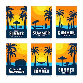 Sommerstrandkarten-designkollektion