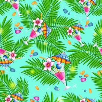 Sommerstrandmuster mit palmblättern und cocktails.