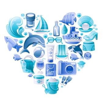 Sommerstrandvektorsatz, herzform mit blauen seeferiensymbolen - fotokamera, ball, welle, strandtasche, flugzeug, boot, delphin.