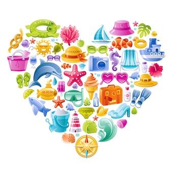 Sommerstrandvektorsatz, herzform mit farbigen seeurlaubssymbolen - sonnenbrille, pantoffel, hut, creme, koffer, flosse, tauchmaske.