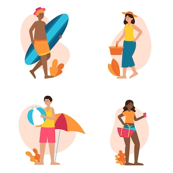 Sommerszenen mit personensammlung