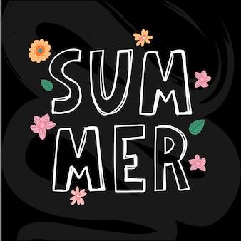 Sommertext mit blumenbuchstaben