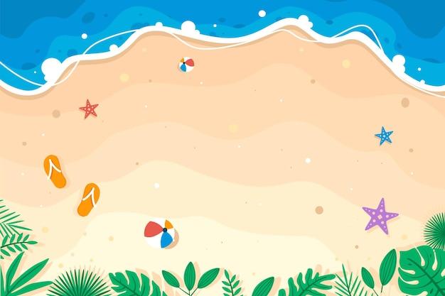 Sommerthemafahne auf schönem strand- und sandhintergrund mit boje und früchten premium-vektor