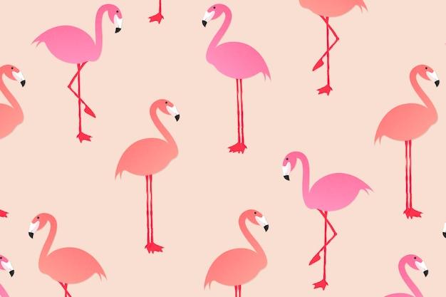 Sommertiermusterhintergrundtapete, flamingovektorillustration